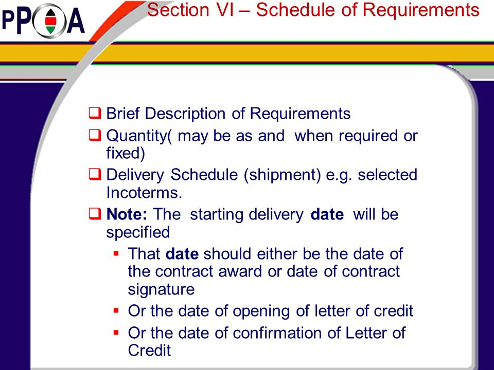 Section VI – Schedule of Requirements