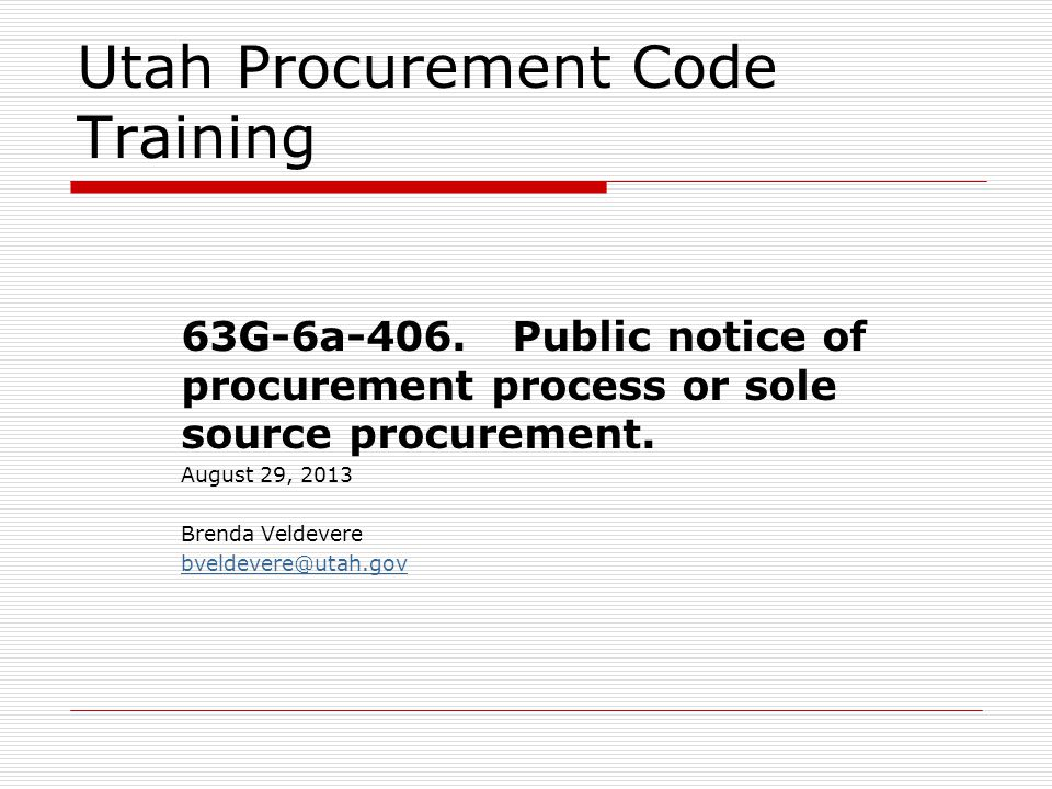 Utah Procurement Code Training