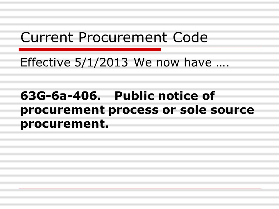 Current Procurement Code