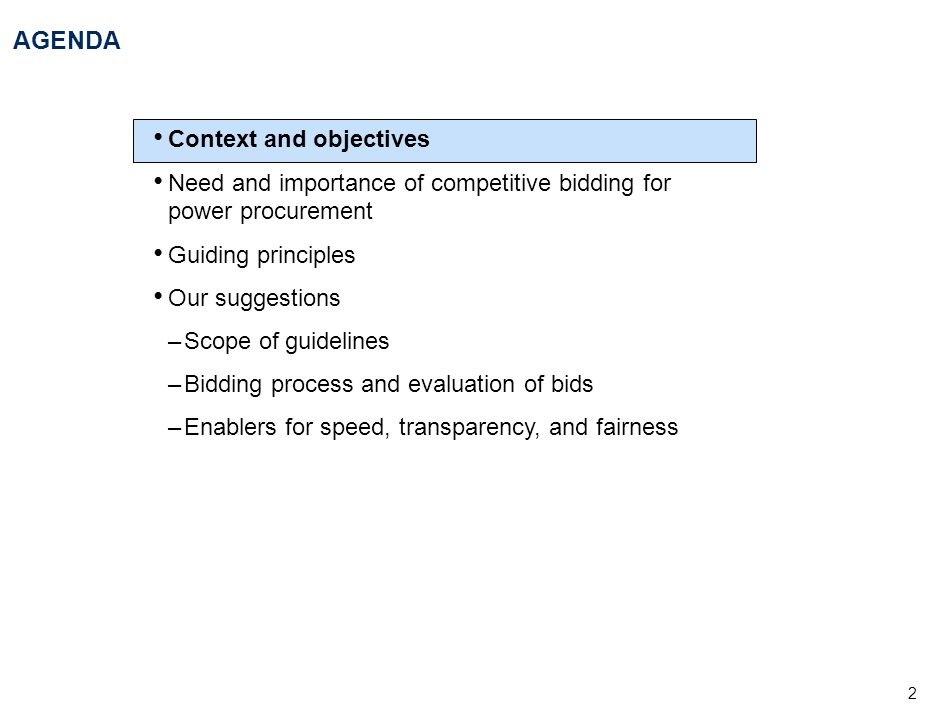 AGENDA Context and objectives