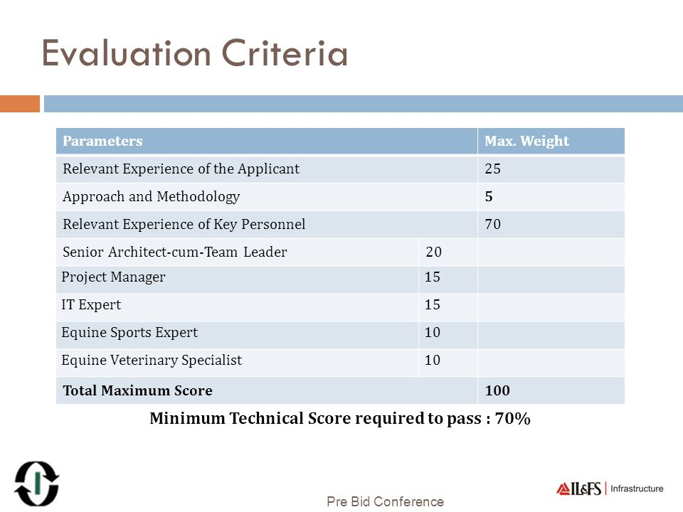 Evaluation Criteria Minimum Technical Score required to pass : 70%