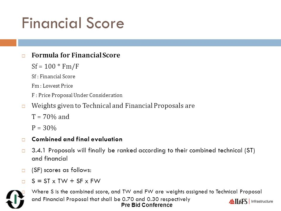 Financial Score Formula for Financial Score Sf = 100 * Fm/F