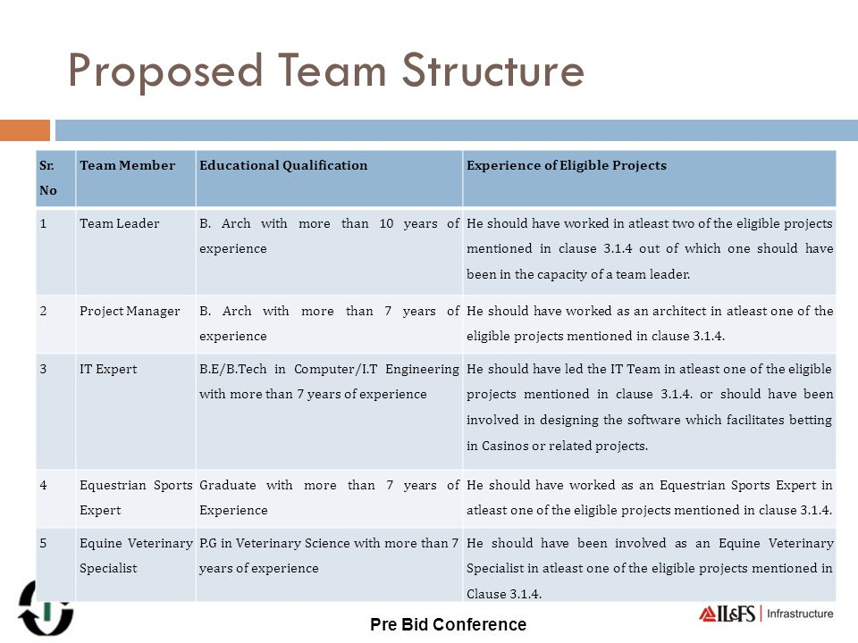 Proposed Team Structure