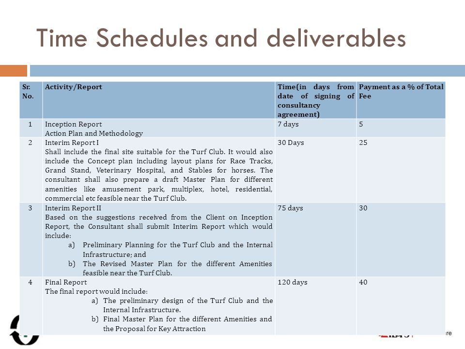 Time Schedules and deliverables