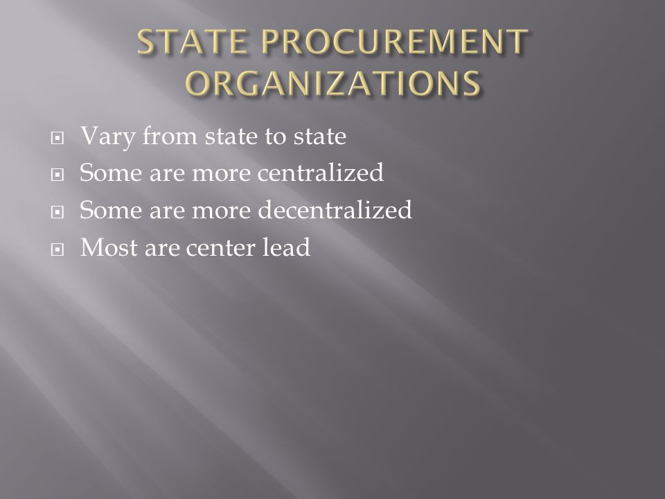 STATE PROCUREMENT ORGANIZATIONS