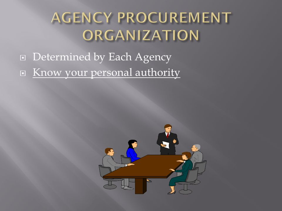 AGENCY PROCUREMENT ORGANIZATION