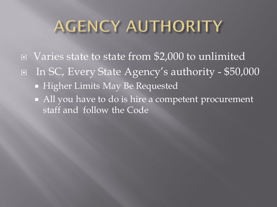 AGENCY AUTHORITY Varies state to state from $2,000 to unlimited