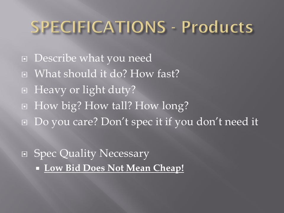 SPECIFICATIONS - Products