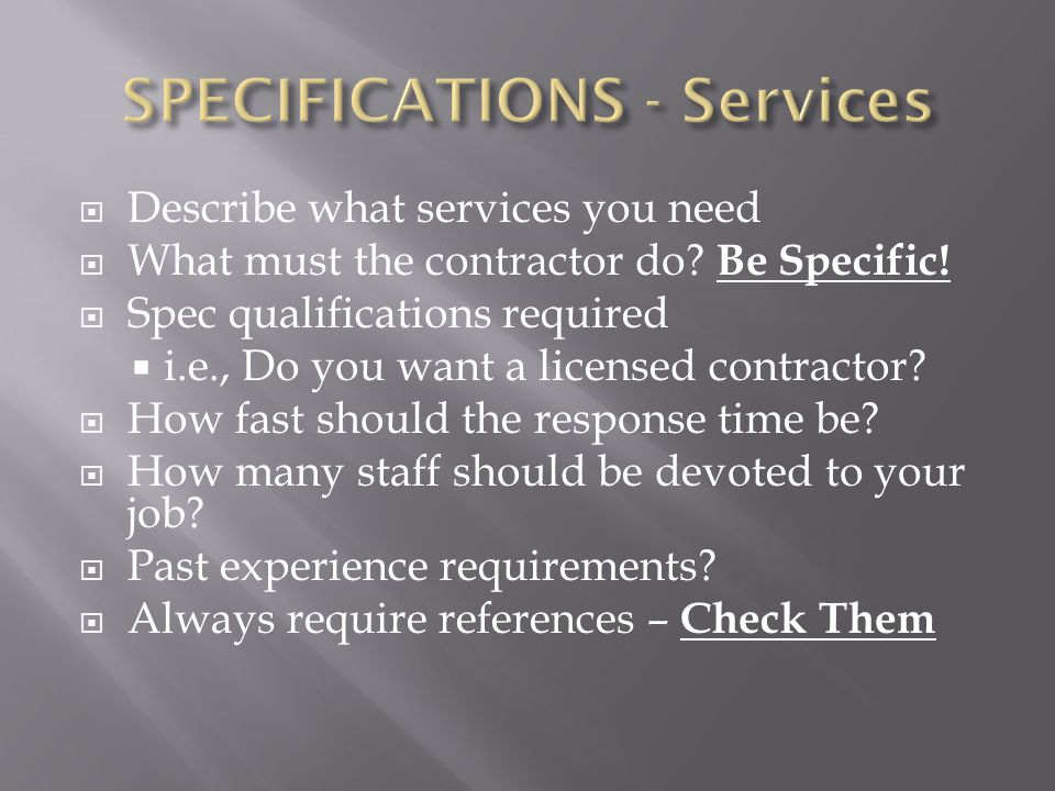 SPECIFICATIONS - Services