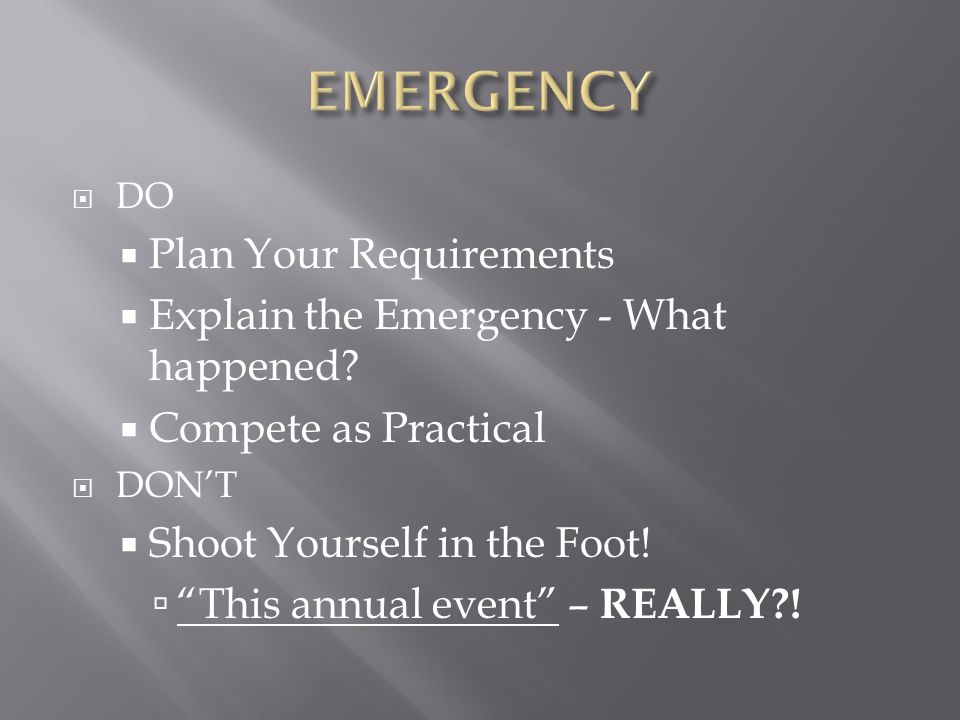 EMERGENCY Plan Your Requirements