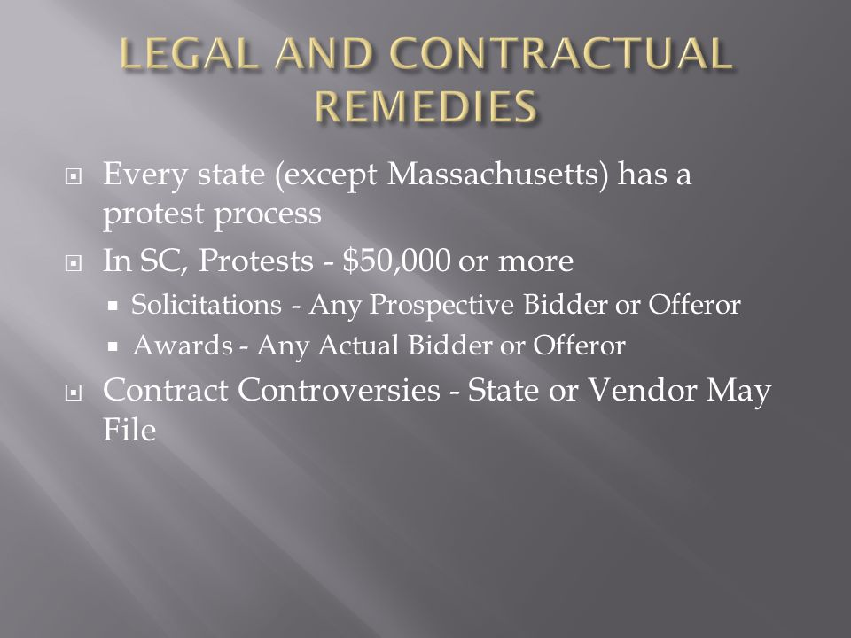 LEGAL AND CONTRACTUAL REMEDIES