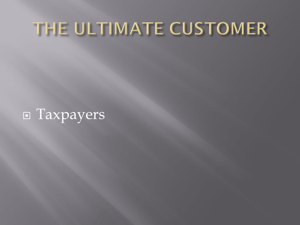 THE ULTIMATE CUSTOMER Taxpayers