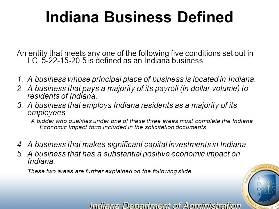 Indiana Business Defined