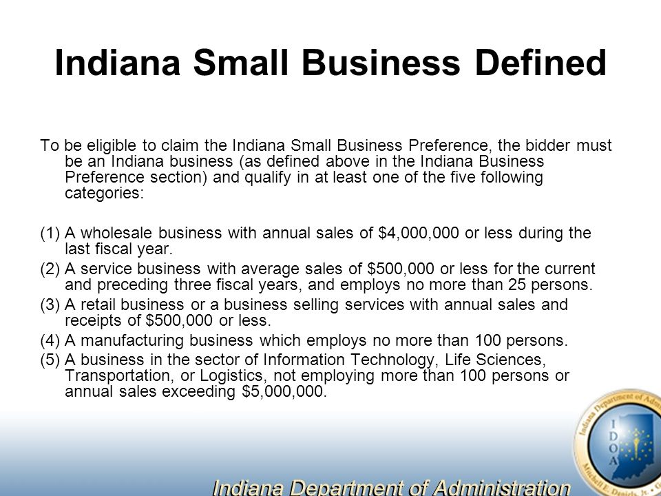 Indiana Small Business Defined
