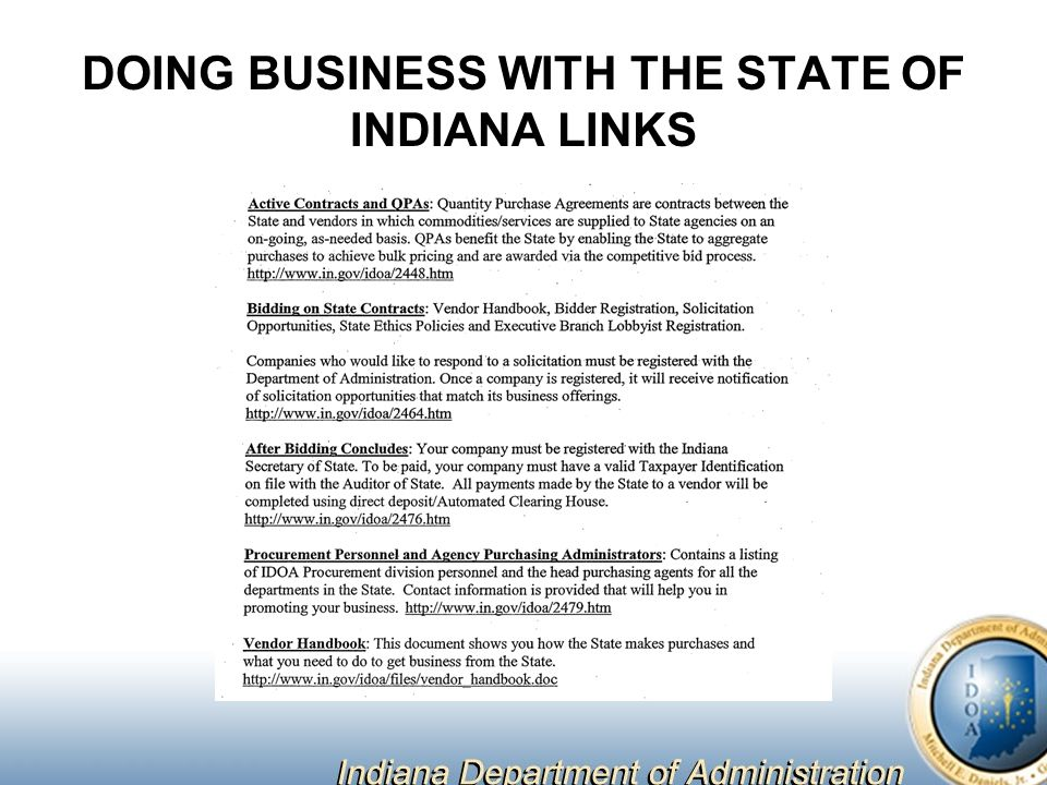 DOING BUSINESS WITH THE STATE OF INDIANA LINKS