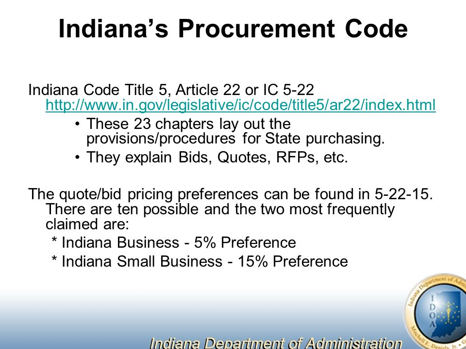 Indiana's Procurement Code