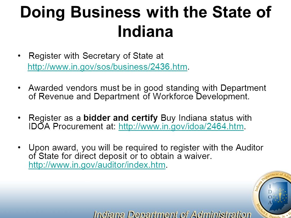 Doing Business with the State of Indiana