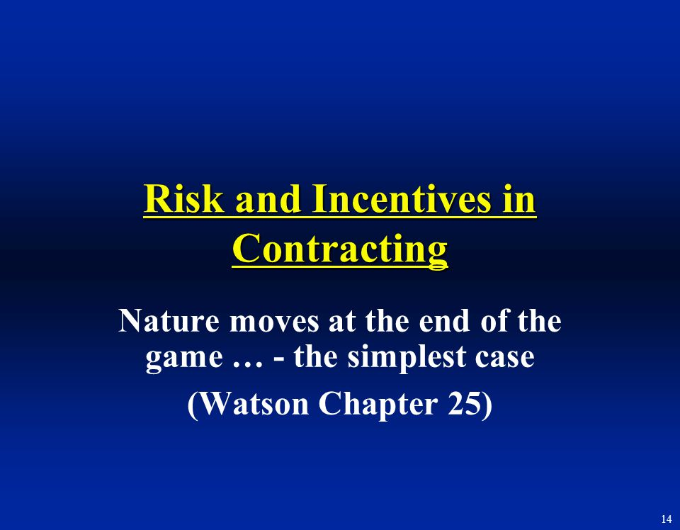 Risk and Incentives in Contracting