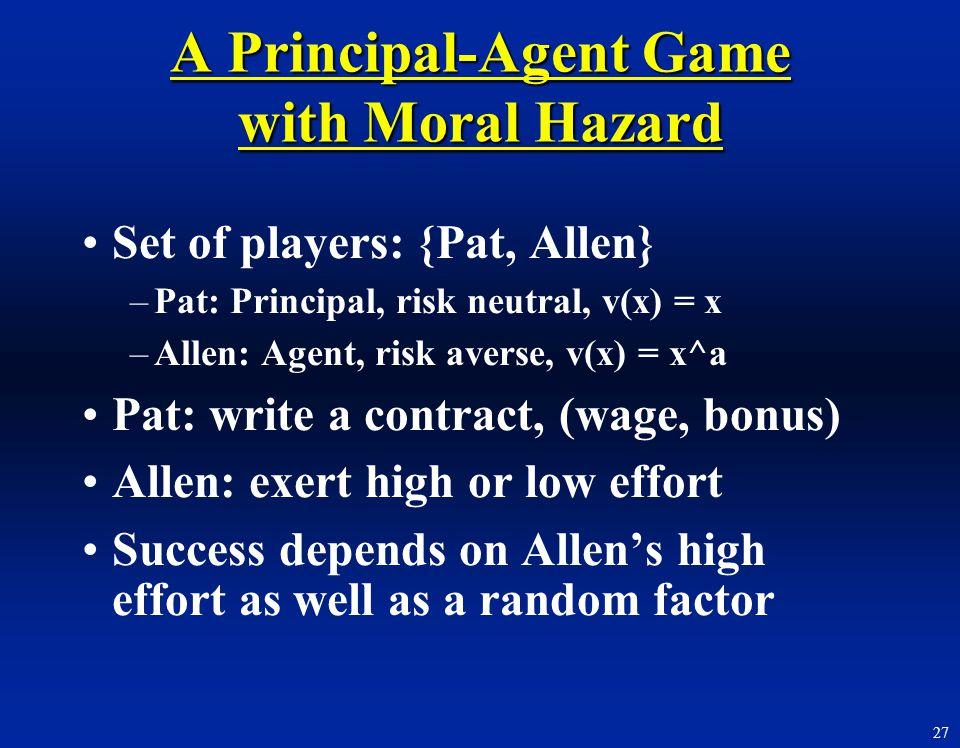 A Principal-Agent Game with Moral Hazard