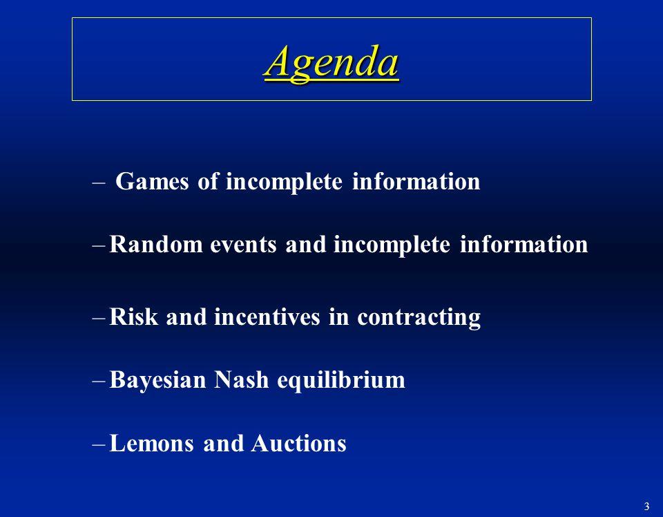 Agenda Games of incomplete information