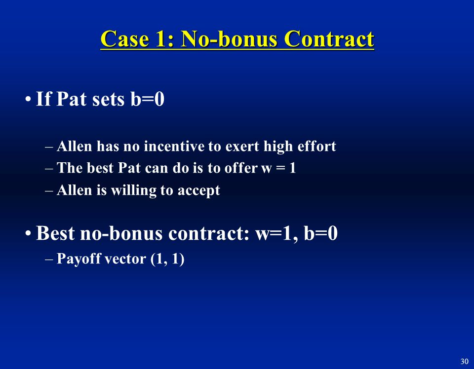 Case 1: No-bonus Contract