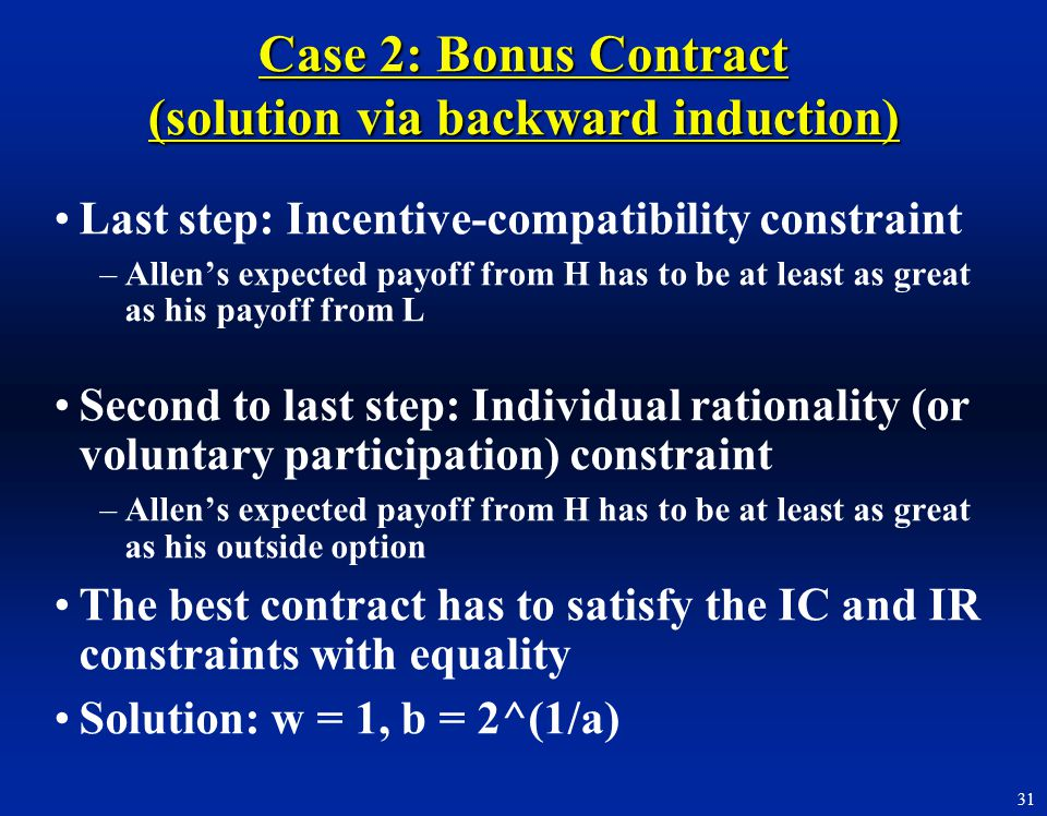 Case 2: Bonus Contract (solution via backward induction)