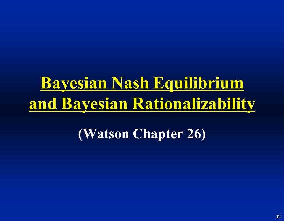 Bayesian Nash Equilibrium and Bayesian Rationalizability