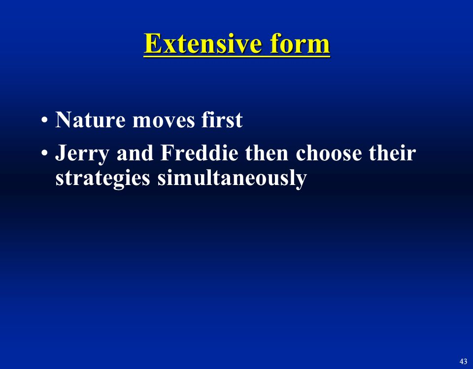 Extensive form Nature moves first