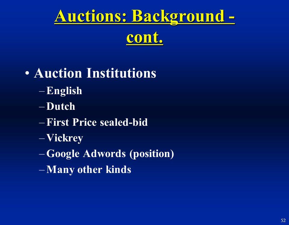 Auctions: Background - cont.