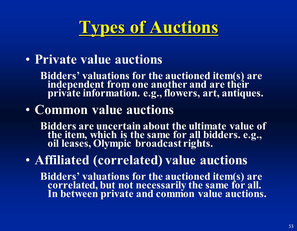 Types of Auctions Private value auctions Common value auctions