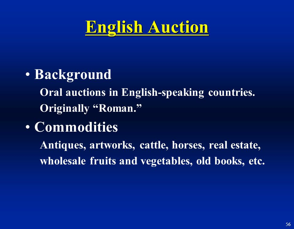 English Auction Background Commodities