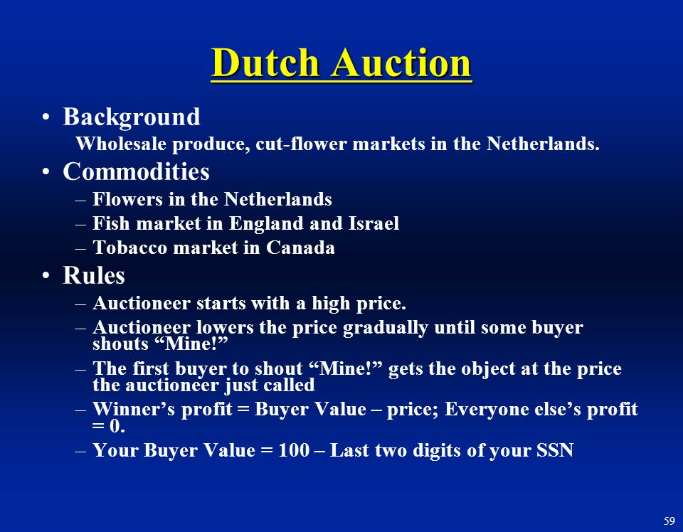 Dutch Auction Background Commodities Rules