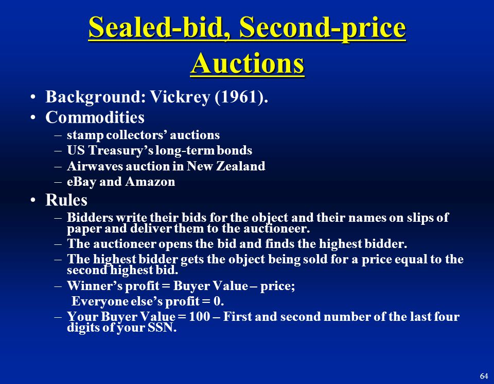 Sealed-bid, Second-price Auctions