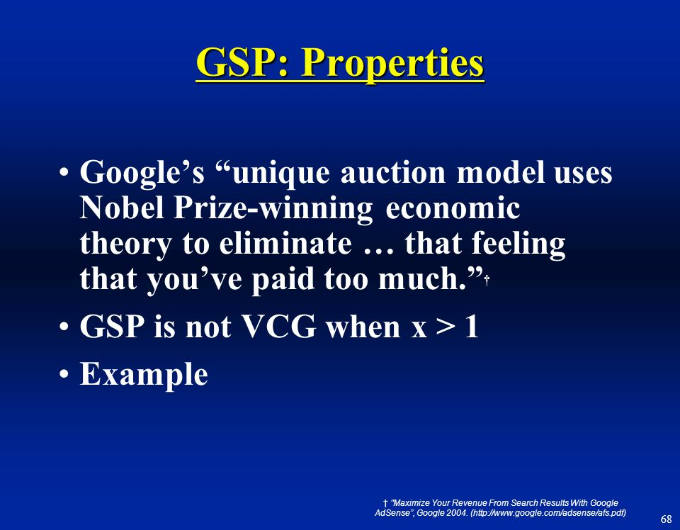 GSP: Properties Google's unique auction model uses Nobel Prize-winning economic theory to eliminate … that feeling that you've paid too much. †