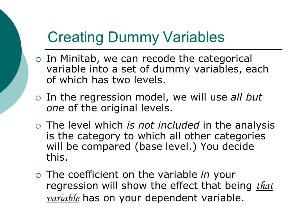 Creating Dummy Variables