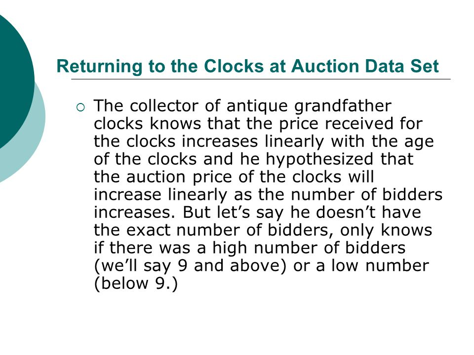 Returning to the Clocks at Auction Data Set