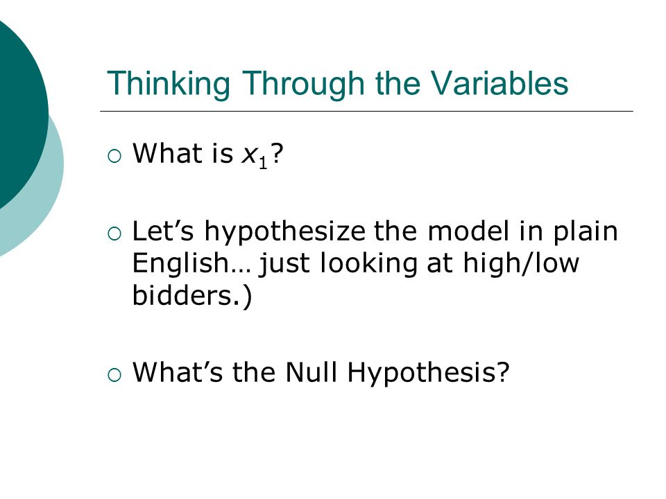 Thinking Through the Variables