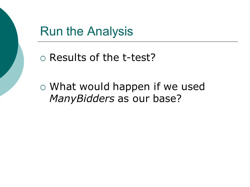 Run the Analysis Results of the t-test