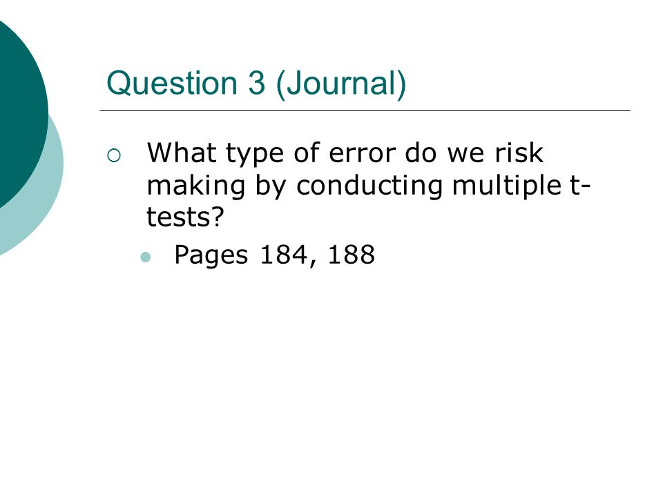 Question 3 (Journal) What type of error do we risk making by conducting multiple t-tests.
