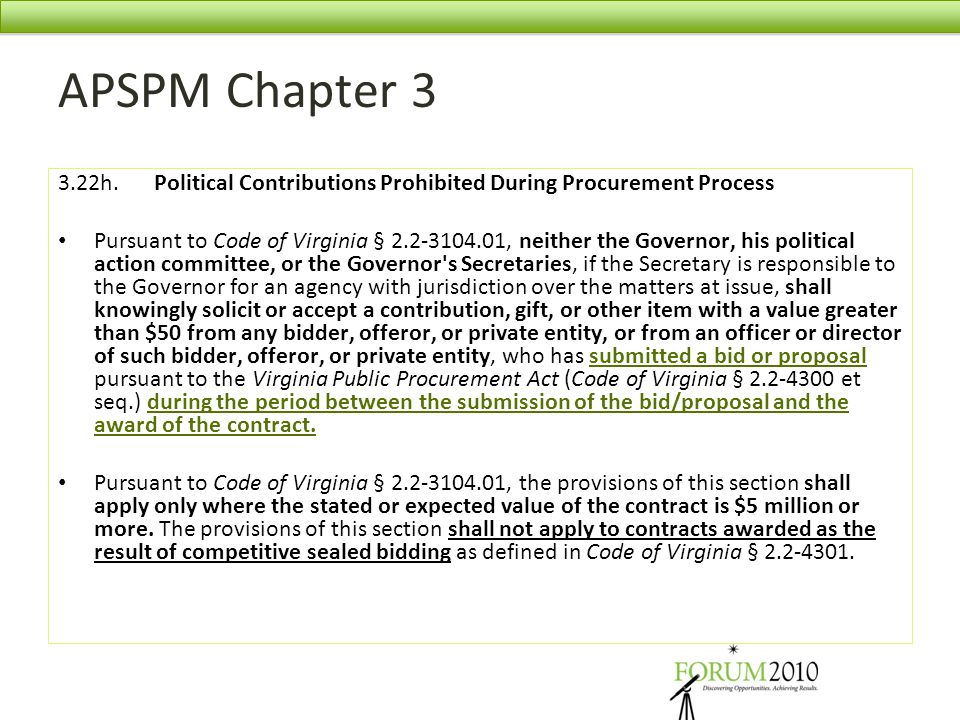 APSPM Chapter 3 3.22h. Political Contributions Prohibited During Procurement Process.