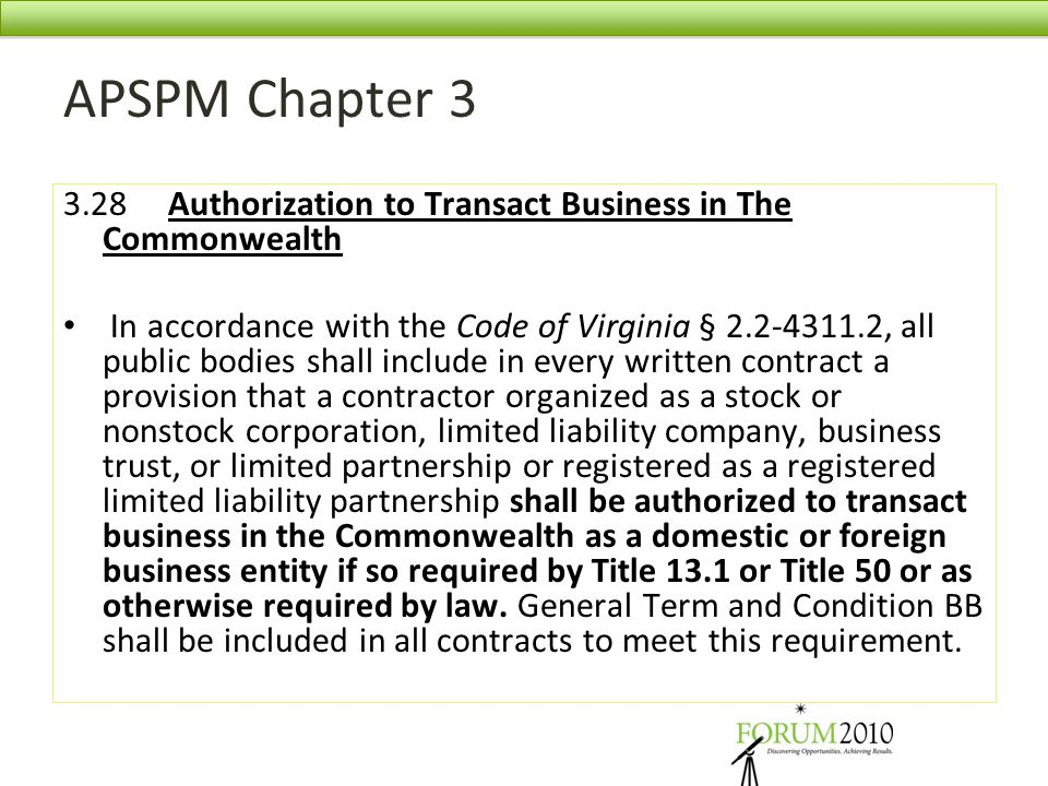APSPM Chapter 3 3.28 Authorization to Transact Business in The Commonwealth.