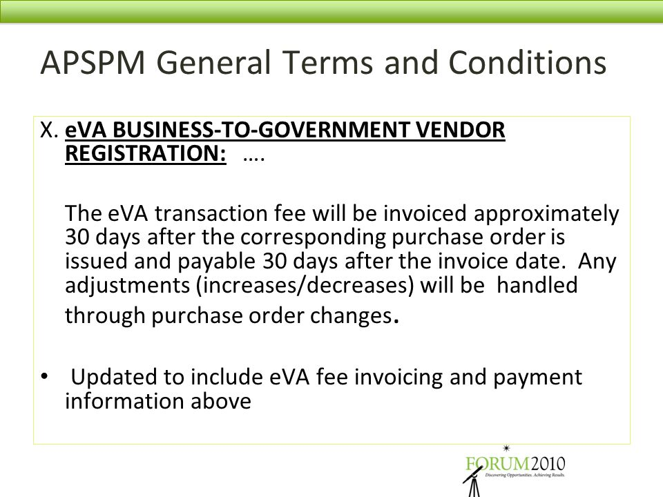 APSPM General Terms and Conditions