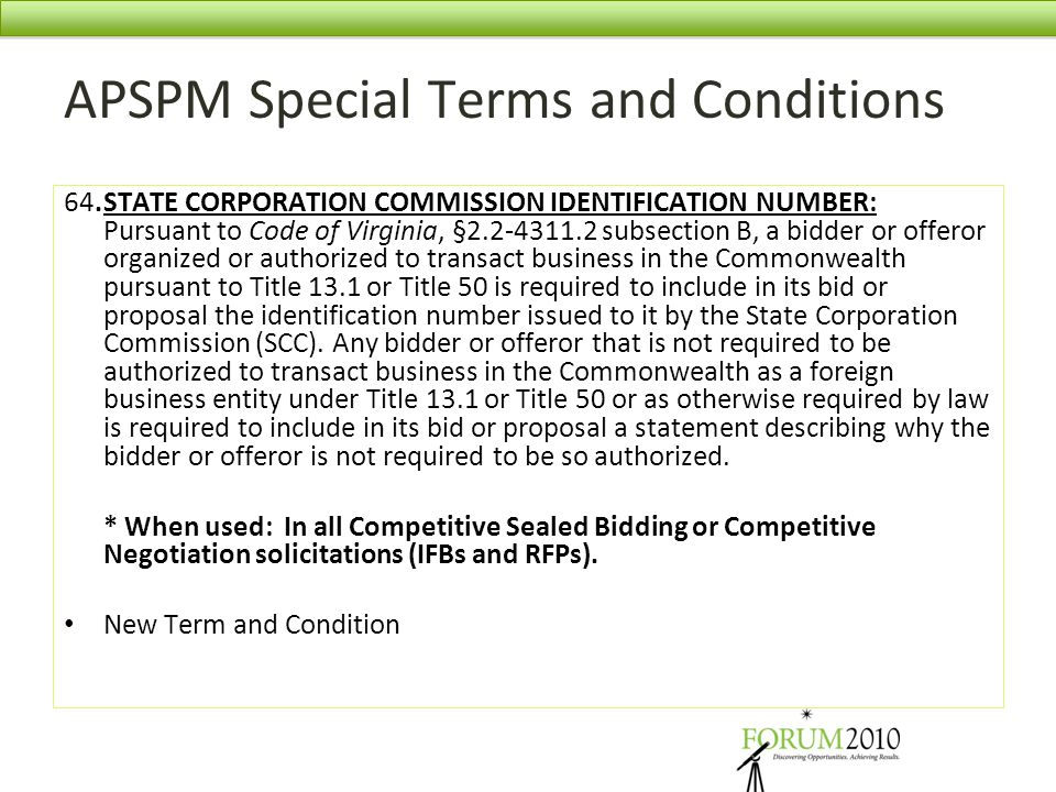 APSPM Special Terms and Conditions