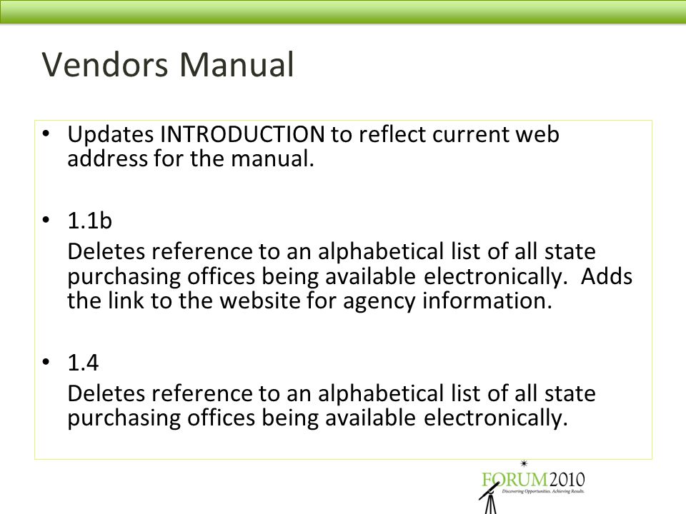 Vendors Manual Updates INTRODUCTION to reflect current web address for the manual. 1.1b.