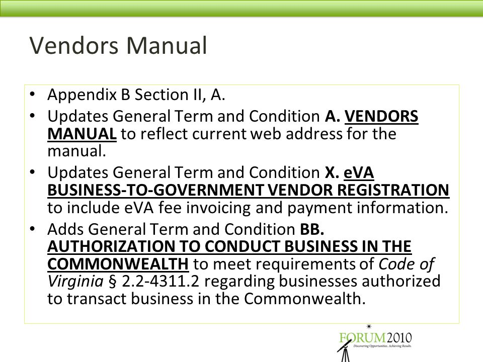 Vendors Manual Appendix B Section II, A.
