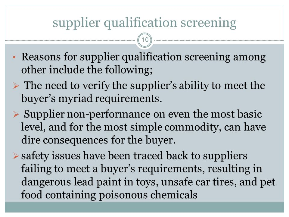 supplier qualification screening