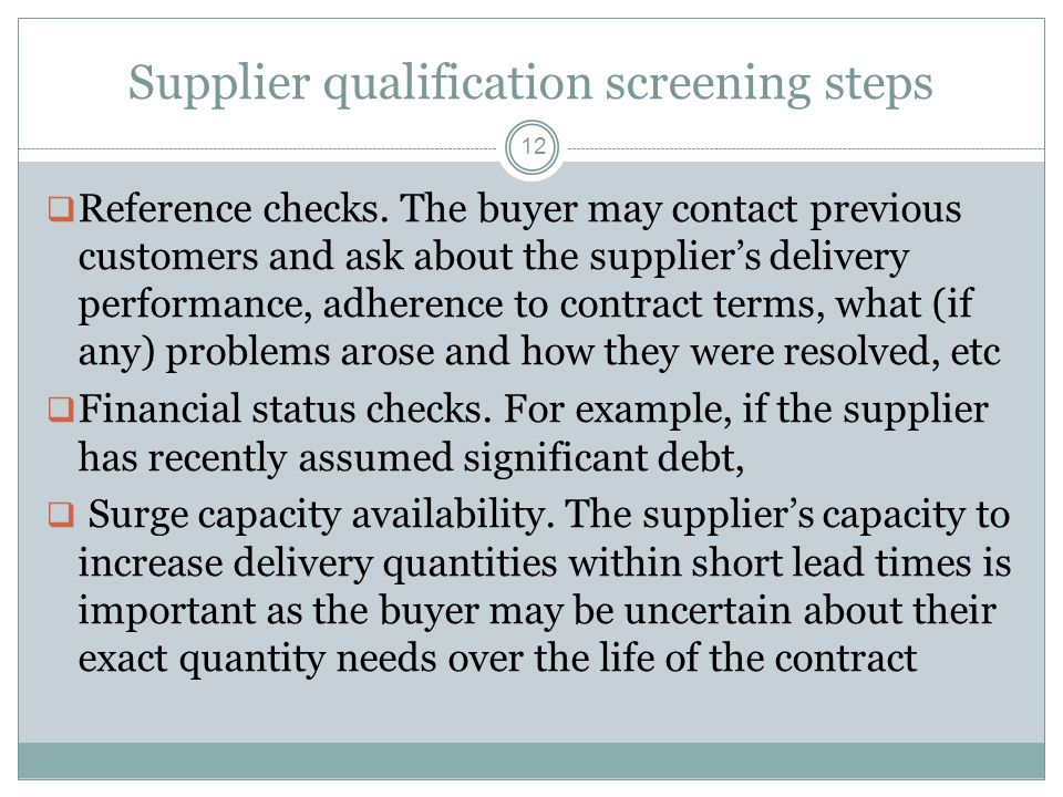 Supplier qualification screening steps