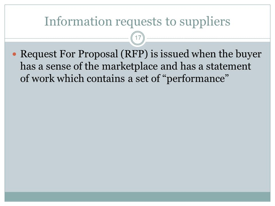 Information requests to suppliers