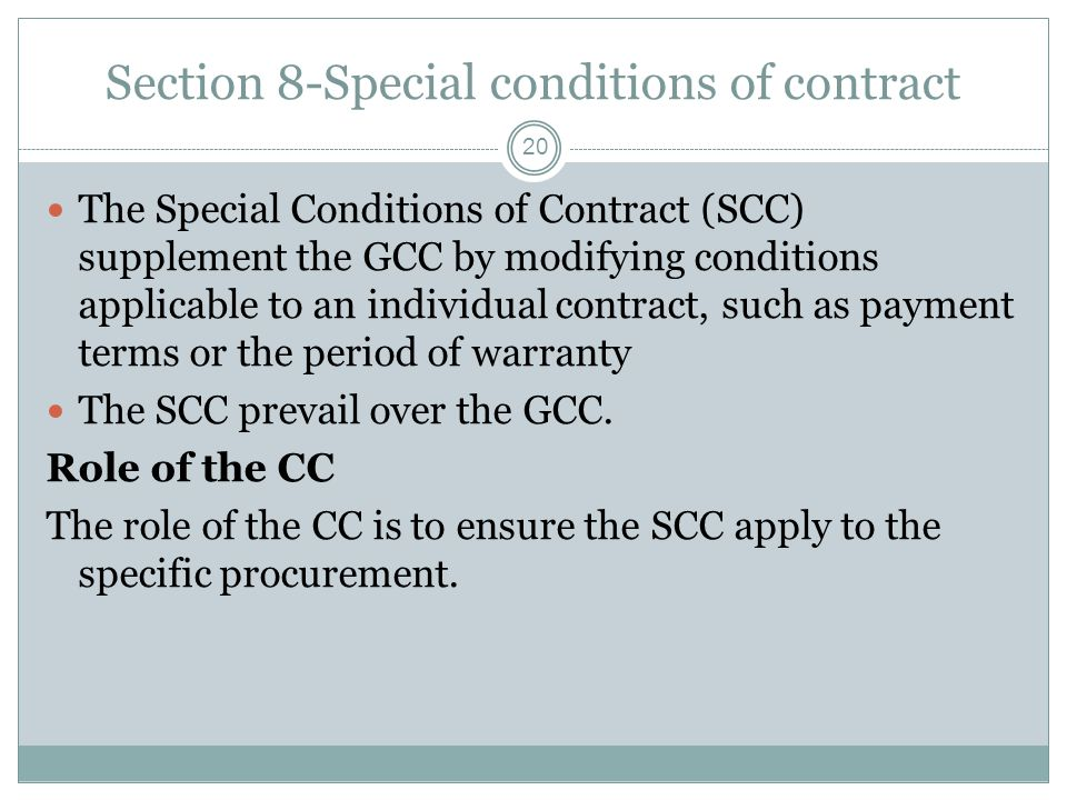 Section 8-Special conditions of contract