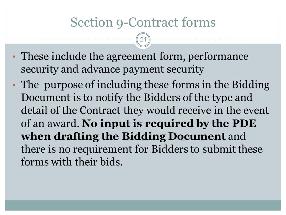 Section 9-Contract forms